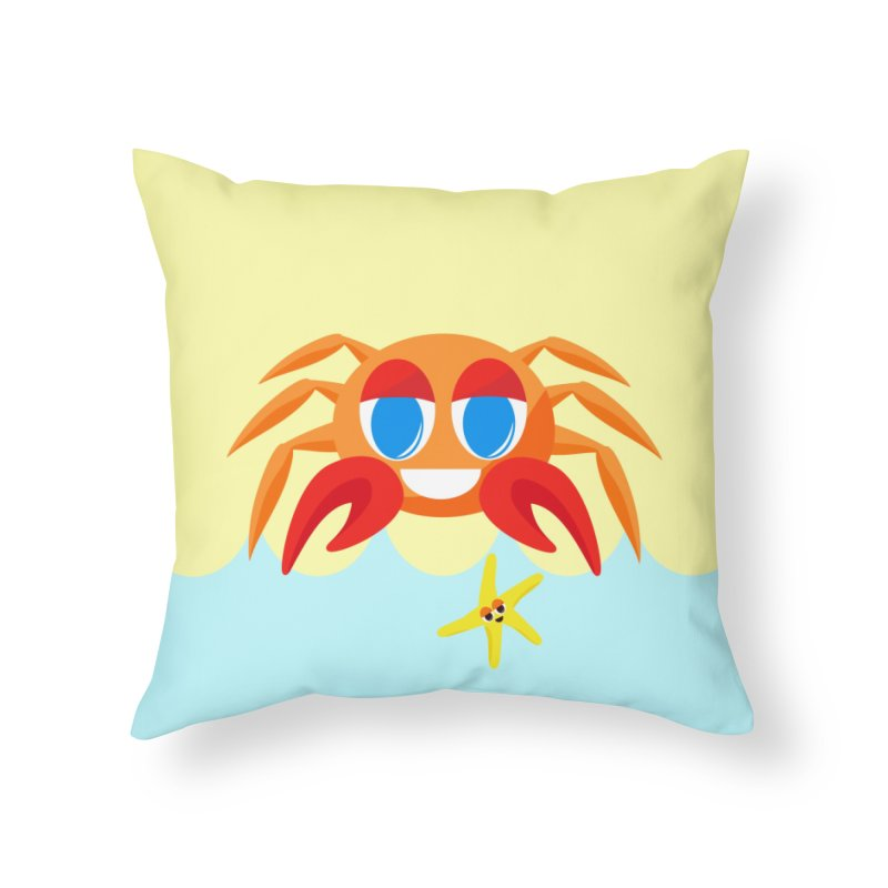 Mr Crab on the Beach Home Throw Pillow by Shelly Still's Artist Shop