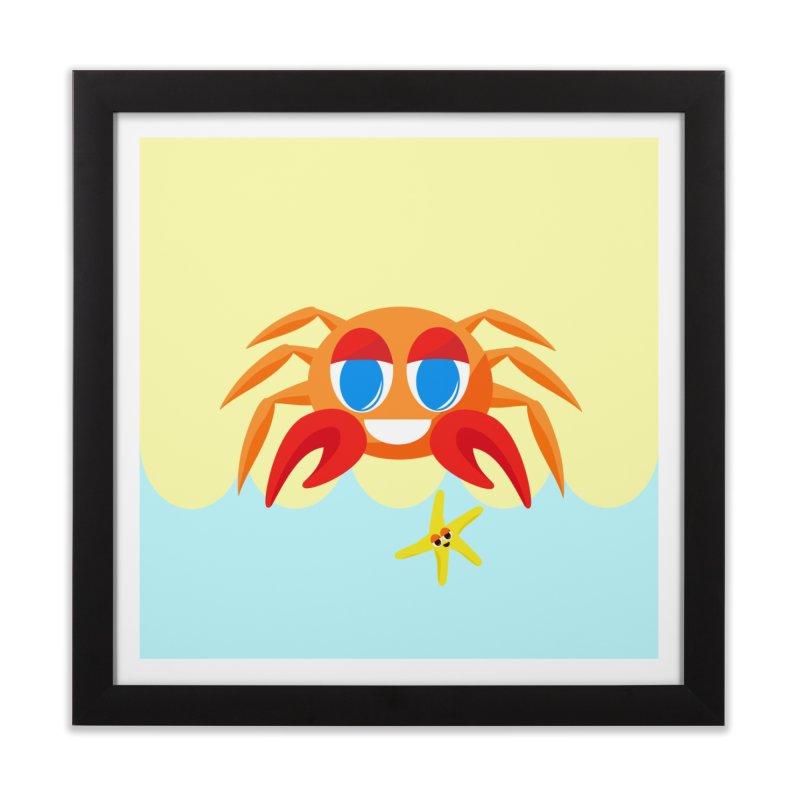 Mr Crab on the Beach Home Framed Fine Art Print by Shelly Still's Artist Shop