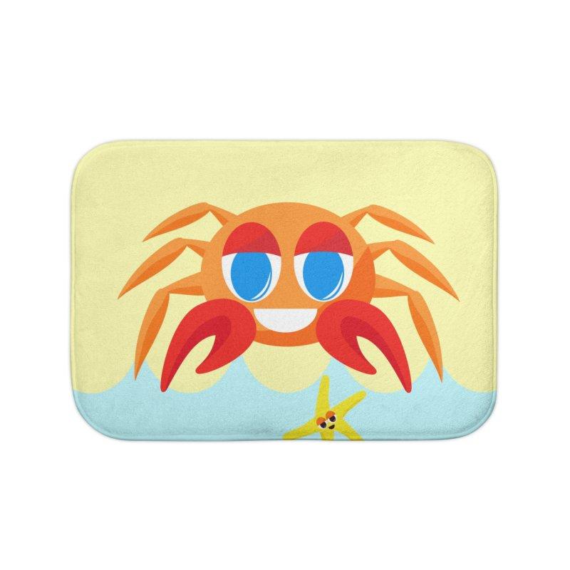 Mr Crab on the Beach Home Bath Mat by Shelly Still's Artist Shop