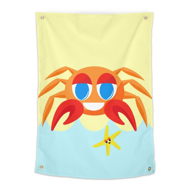 Mr Crab on the Beach Home Tapestry by Shelly Still's Artist Shop