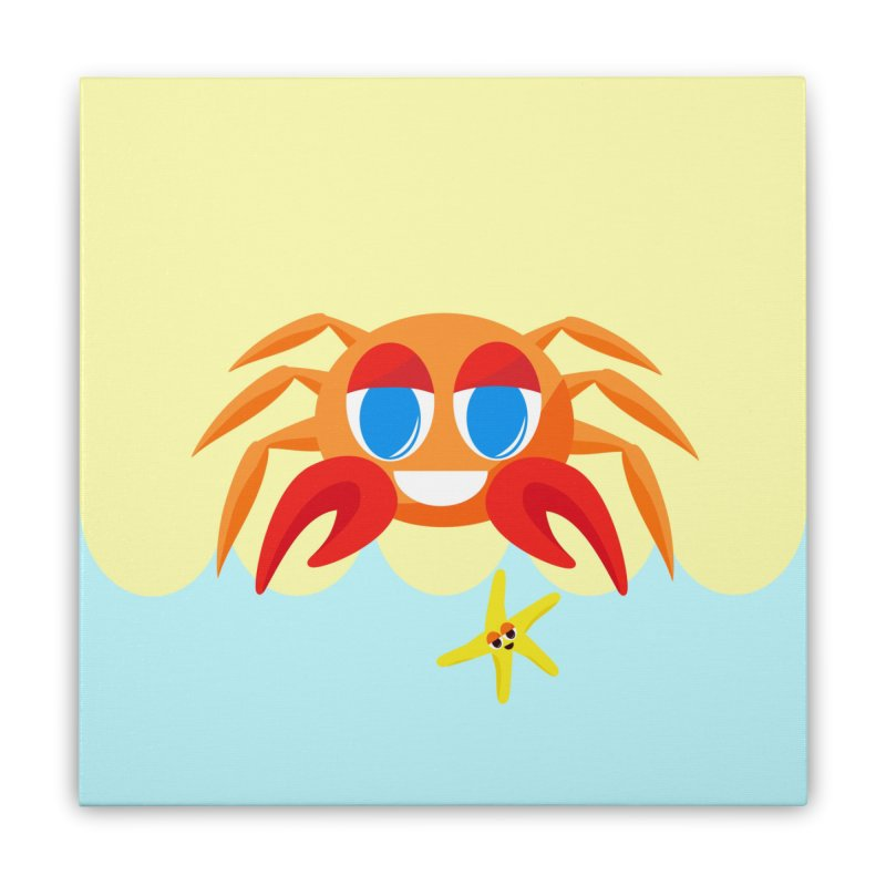 Mr Crab on the Beach Home Stretched Canvas by Shelly Still's Artist Shop