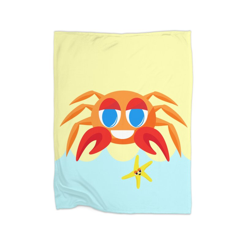 Mr Crab on the Beach Home Blanket by Shelly Still's Artist Shop