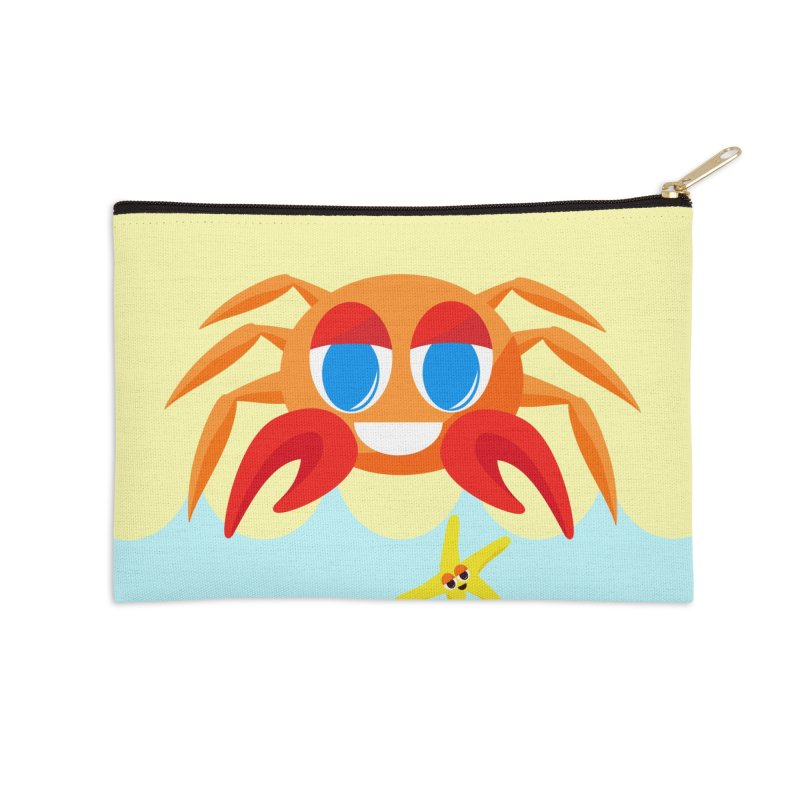 Mr Crab on the Beach Accessories Zip Pouch by Shelly Still's Artist Shop