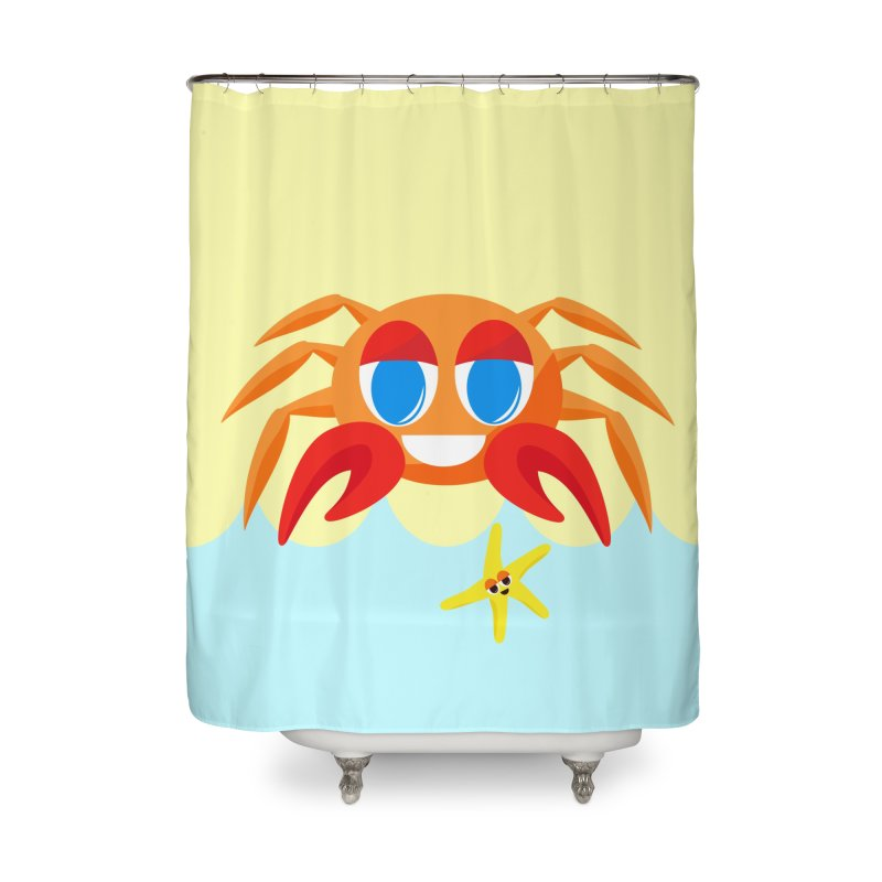 Mr Crab on the Beach Home Shower Curtain by Shelly Still's Artist Shop
