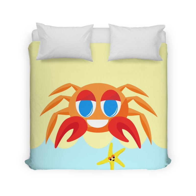 Mr Crab on the Beach Home Duvet by Shelly Still's Artist Shop
