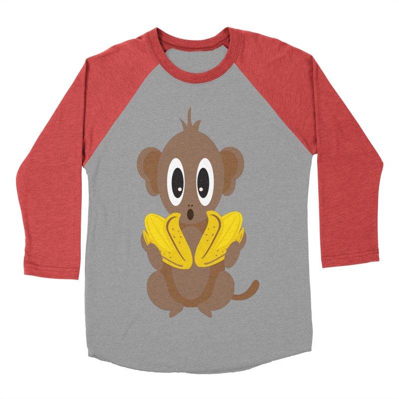 Lil Monkey Face Women's Baseball Triblend T-Shirt by Shelly Still's Artist Shop