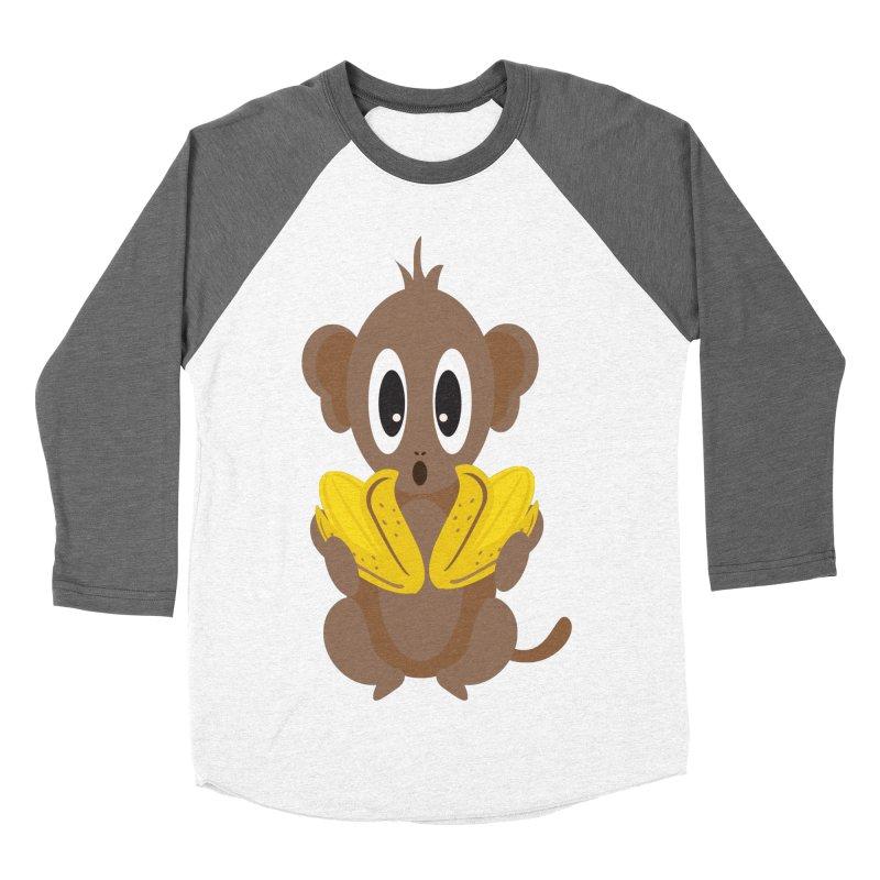 Lil Monkey Face Men's Baseball Triblend T-Shirt by Shelly Still's Artist Shop