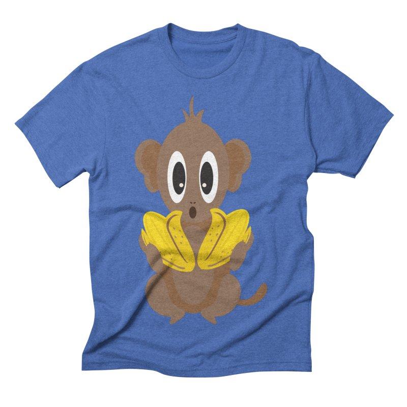 Lil Monkey Face Men's Triblend T-shirt by Shelly Still's Artist Shop