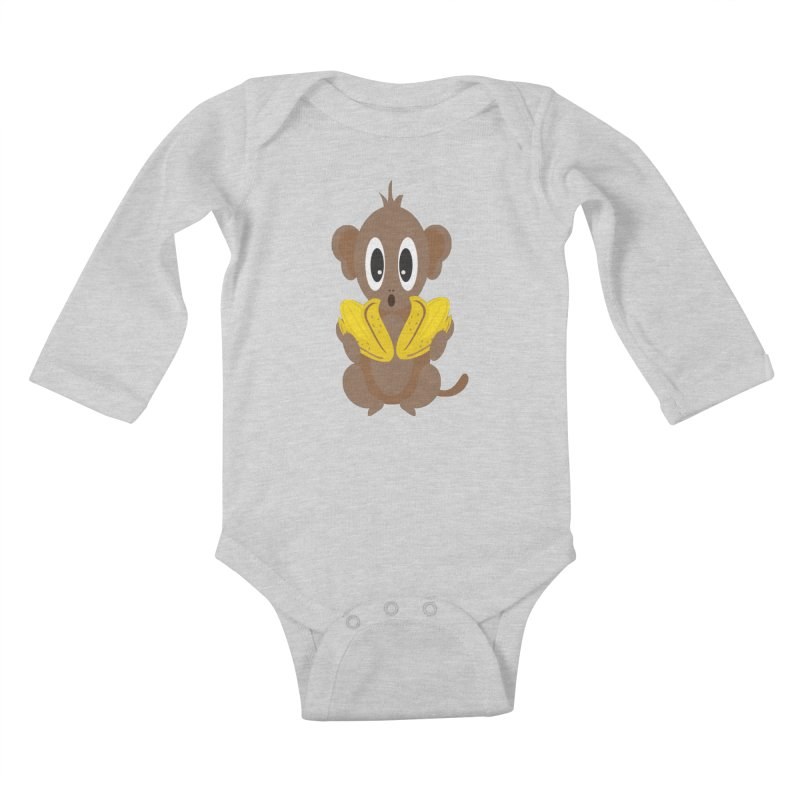 Lil Monkey Face Kids Baby Longsleeve Bodysuit by Shelly Still's Artist Shop