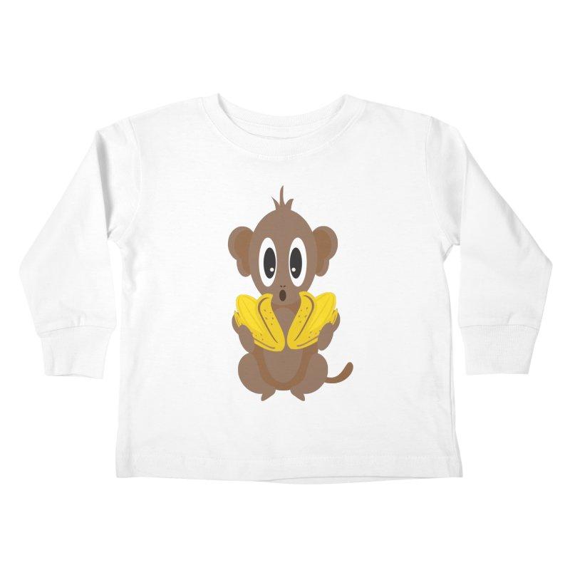 Lil Monkey Face Kids Toddler Longsleeve T-Shirt by Shelly Still's Artist Shop