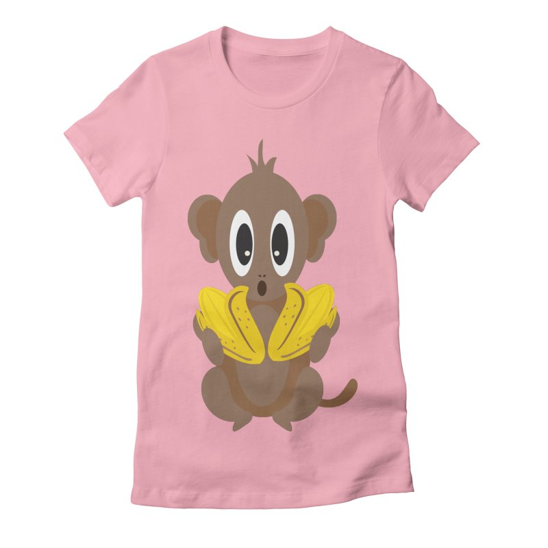 Lil Monkey Face Women's Fitted T-Shirt by Shelly Still's Artist Shop