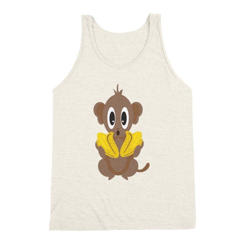 Lil Monkey Face Men's Triblend Tank by Shelly Still's Artist Shop