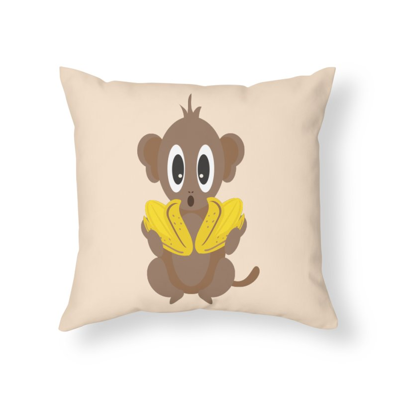 Lil Monkey Face Home Throw Pillow by Shelly Still's Artist Shop