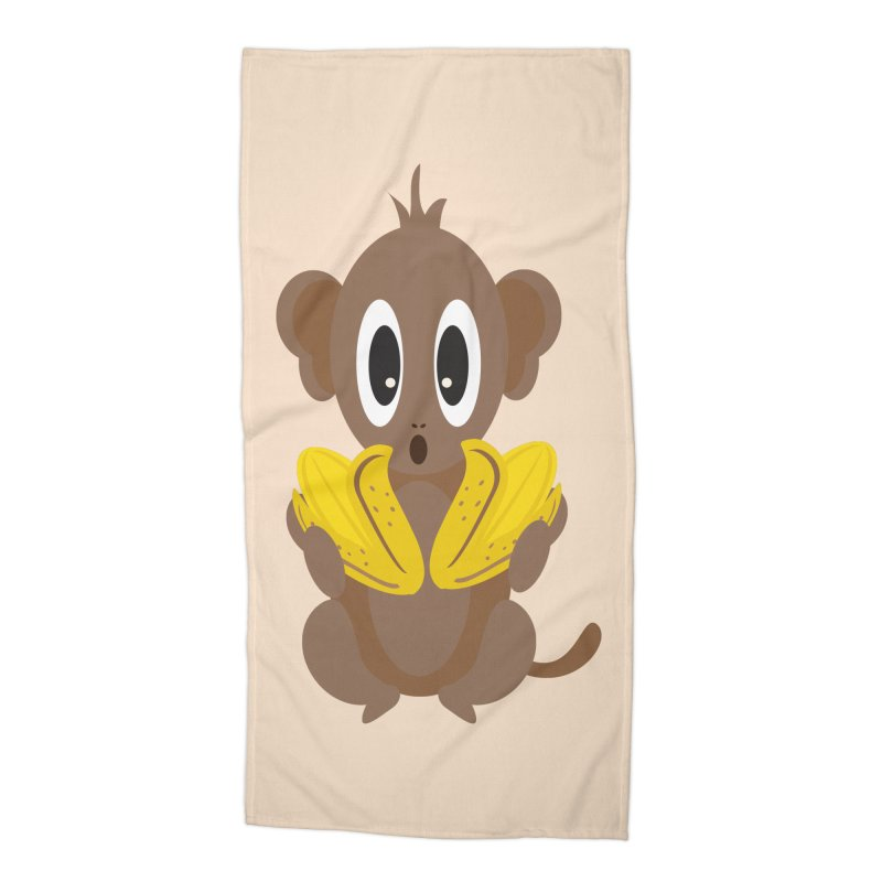 Lil Monkey Face Accessories Beach Towel by Shelly Still's Artist Shop