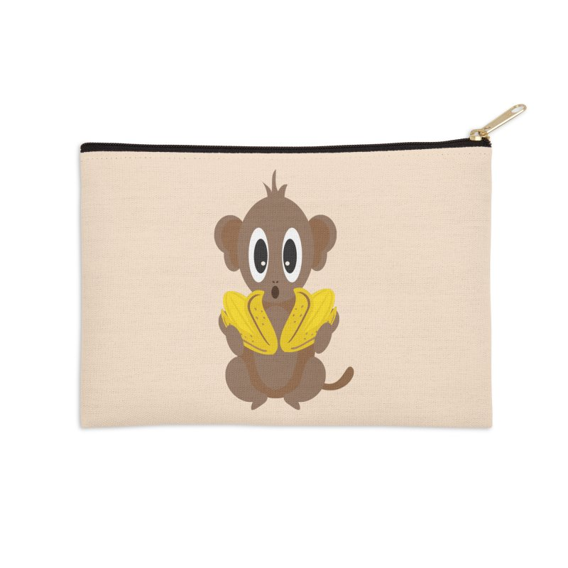 Lil Monkey Face Accessories Zip Pouch by Shelly Still's Artist Shop
