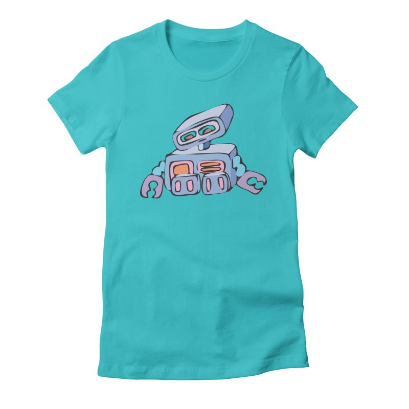 Sad Sad Robot Women's Fitted T-Shirt by Shelly Still's Artist Shop