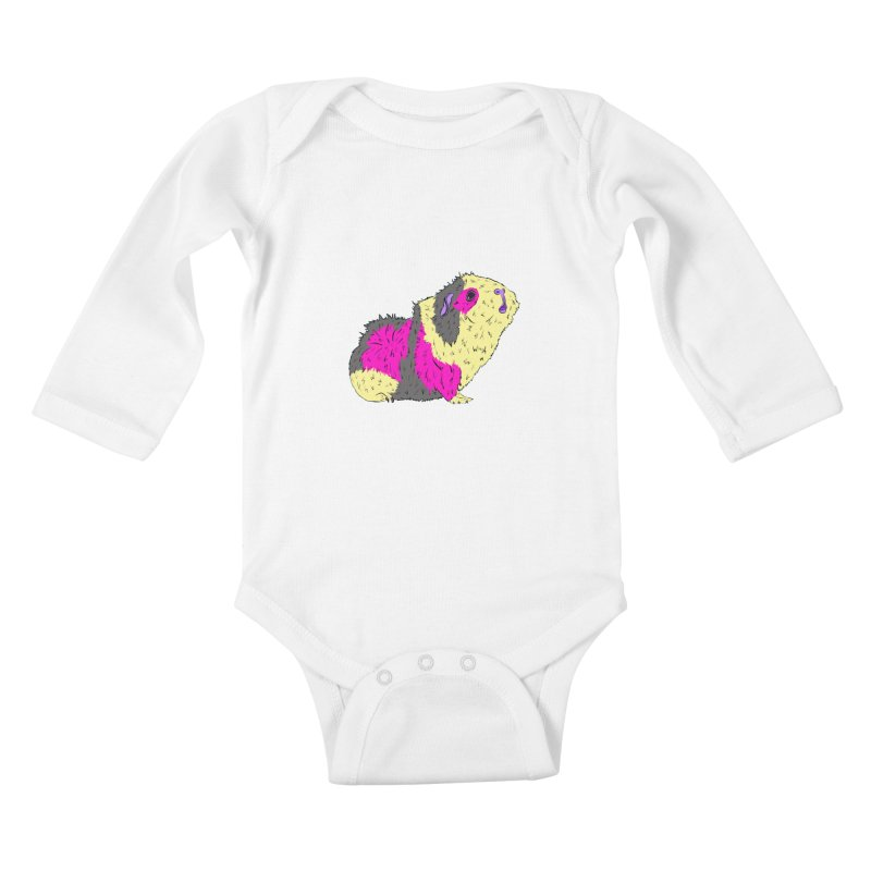 Piggy Stardust - Bowie Guinea Pig Tribute Kids Baby Longsleeve Bodysuit by Shelly Still's Artist Shop