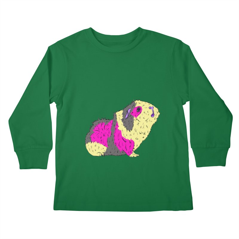 Piggy Stardust - Bowie Guinea Pig Tribute Kids Longsleeve T-Shirt by Shelly Still's Artist Shop
