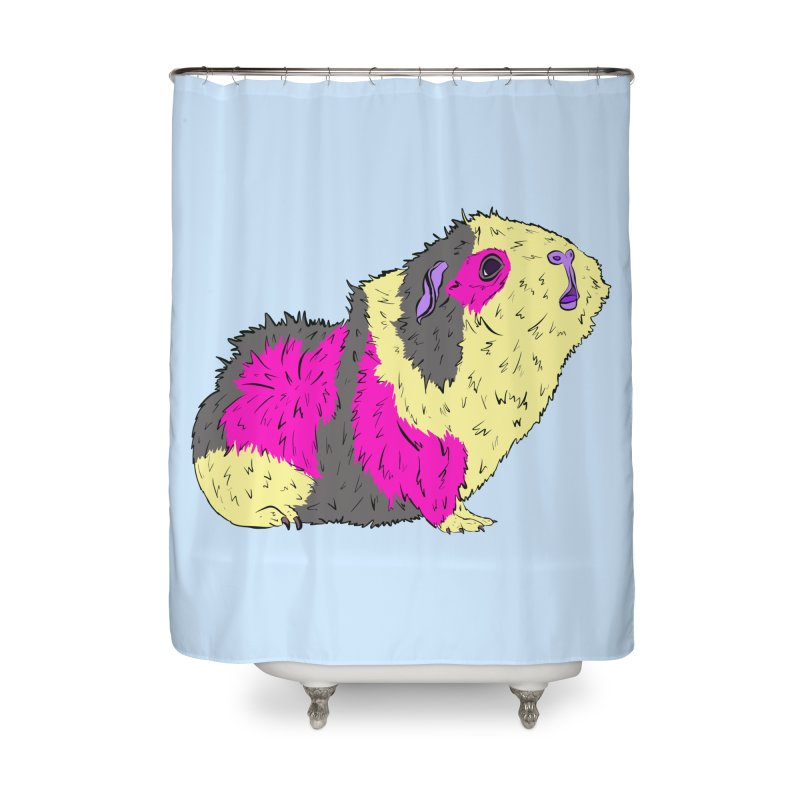 Piggy Stardust - Bowie Guinea Pig Tribute Home Shower Curtain by Shelly Still's Artist Shop