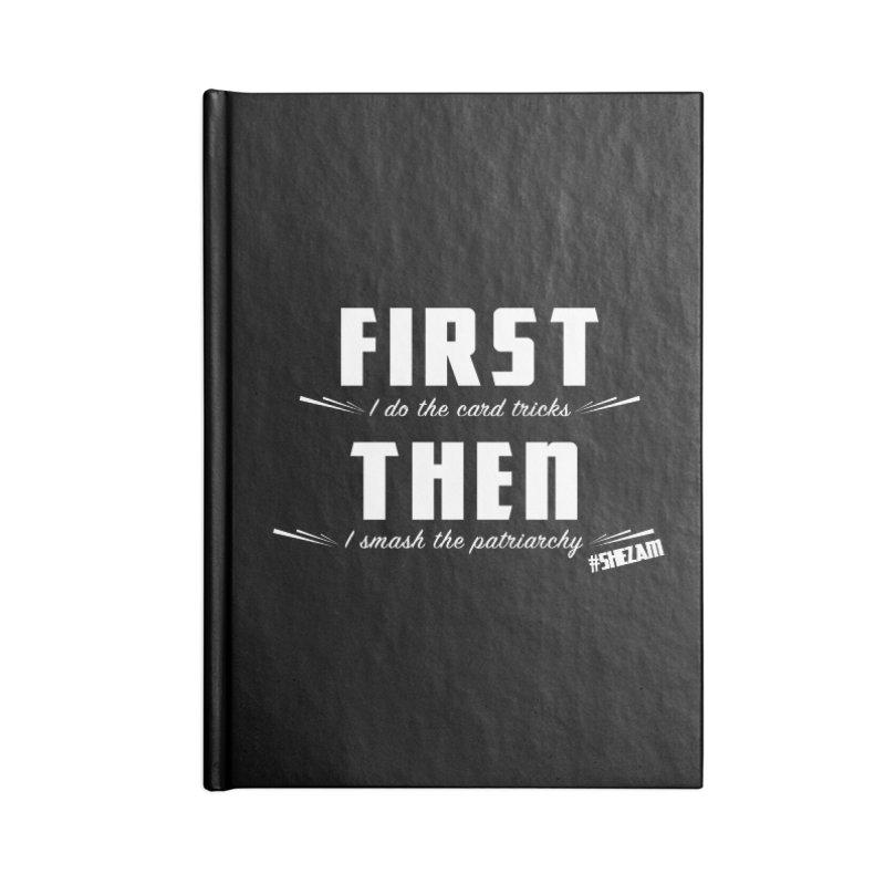 First/Then (dark background) Accessories Notebook by Shezam Pod