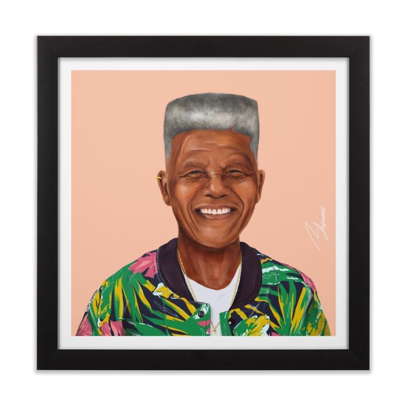 Nelson Mandela in Framed Fine Art Print Black by shimoni's Artist Shop