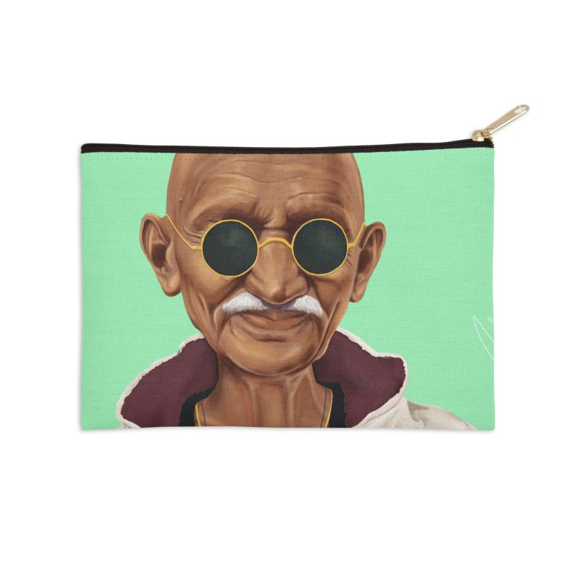Mahatma Gandhi Accessories Zip Pouch by shimoni's Artist Shop