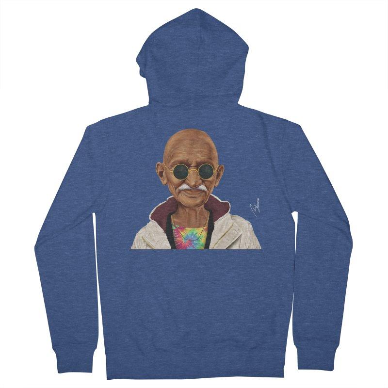 Mahatma Gandhi Men's Zip-Up Hoody by shimoni's Artist Shop