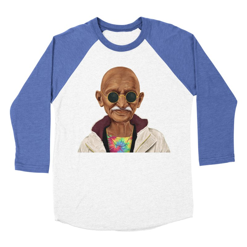 Mahatma Gandhi Women's Baseball Triblend T-Shirt by shimoni's Artist Shop