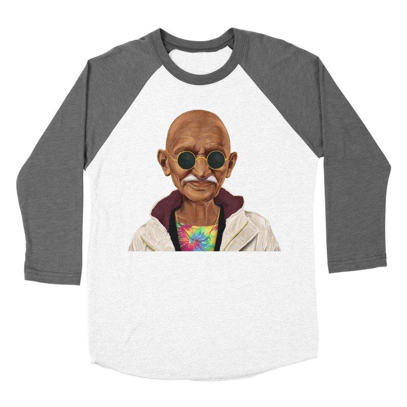 Mahatma Gandhi Men's Baseball Triblend T-Shirt by shimoni's Artist Shop