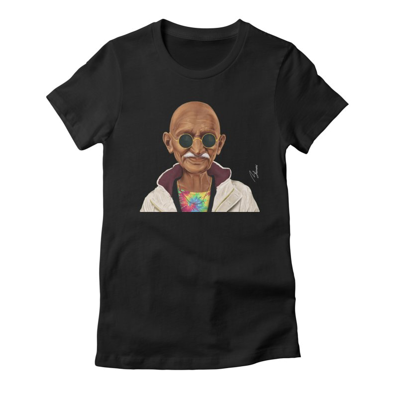 Mahatma Gandhi Women's Fitted T-Shirt by shimoni's Artist Shop