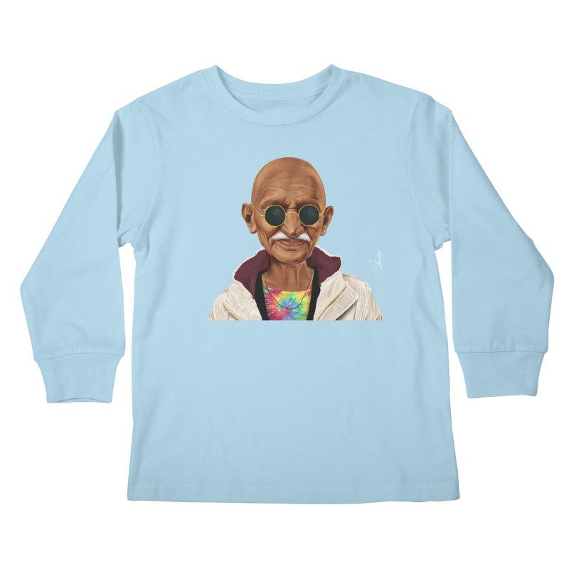 Mahatma Gandhi Kids Longsleeve T-Shirt by shimoni's Artist Shop