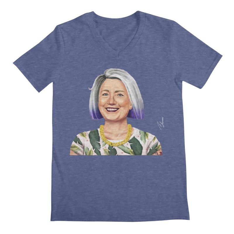 Hillary Clinton Men's V-Neck by shimoni's Artist Shop