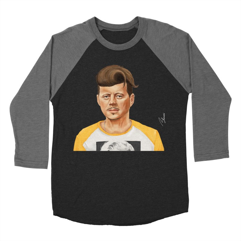 John F. Kennedy Men's Baseball Triblend T-Shirt by shimoni's Artist Shop