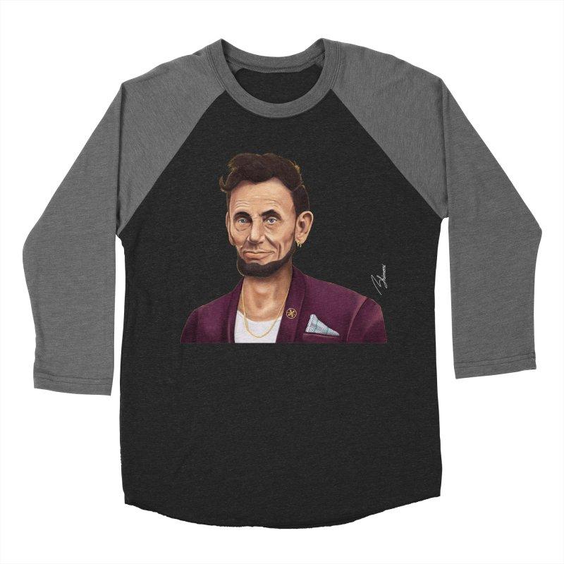 Abraham Lincoln Men's Baseball Triblend T-Shirt by shimoni's Artist Shop