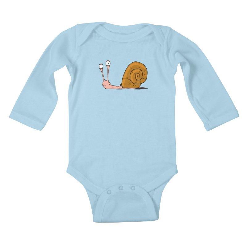 Funny snail Kids Baby Longsleeve Bodysuit by shiningstar's Artist Shop