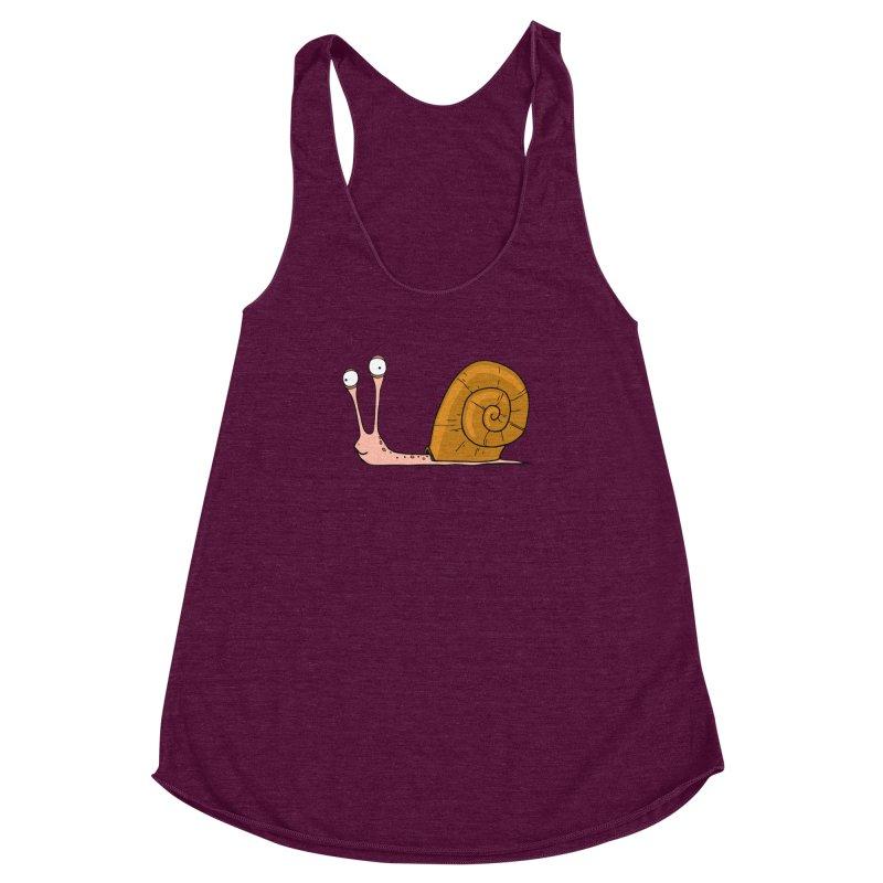 Funny snail Women's Racerback Triblend Tank by shiningstar's Artist Shop