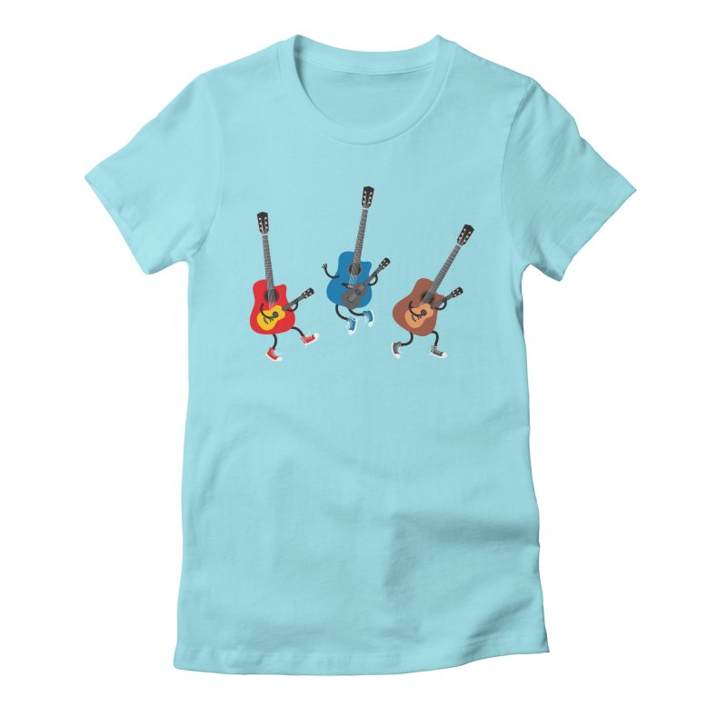 Dancing guitars Women's Fitted T-Shirt by shiningstar's Artist Shop