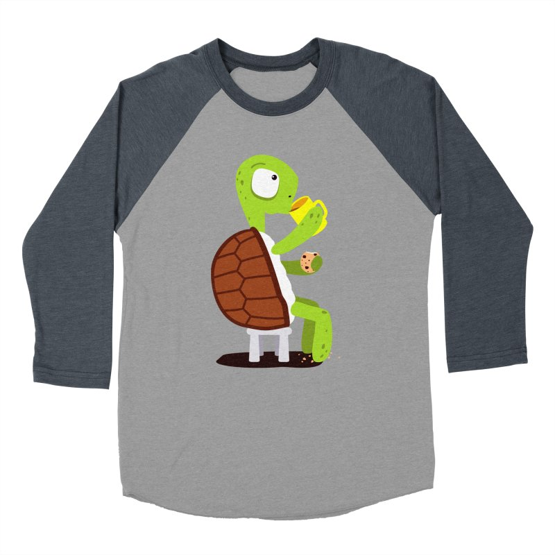 Turtle drinking tea with cookies. Men's Baseball Triblend T-Shirt by shiningstar's Artist Shop