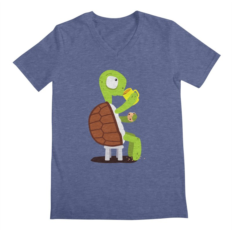 Turtle drinking tea with cookies. Men's V-Neck by shiningstar's Artist Shop