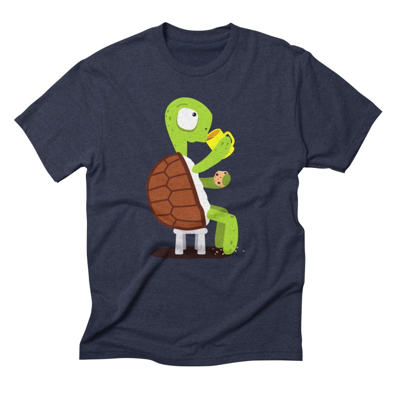 Turtle drinking tea with cookies. Men's Triblend T-shirt by shiningstar's Artist Shop