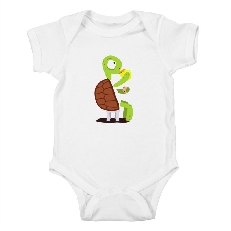 Turtle drinking tea with cookies. Kids Baby Bodysuit by shiningstar's Artist Shop
