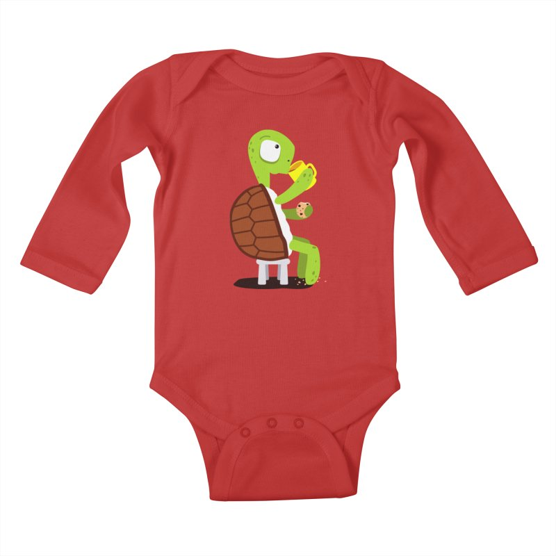 Turtle drinking tea with cookies. Kids Baby Longsleeve Bodysuit by shiningstar's Artist Shop