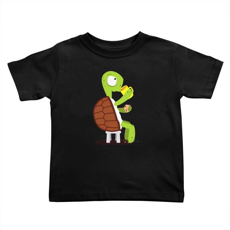 Turtle drinking tea with cookies. Kids Toddler T-Shirt by shiningstar's Artist Shop