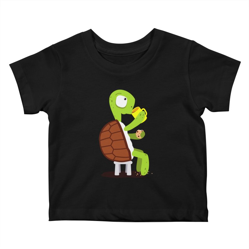Turtle drinking tea with cookies. Kids Baby T-Shirt by shiningstar's Artist Shop