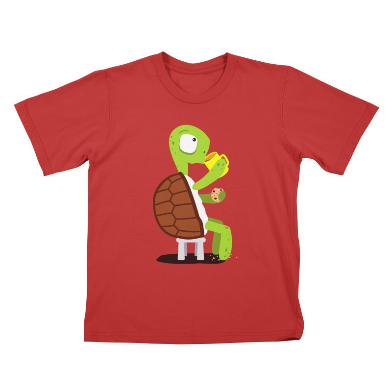 Turtle drinking tea with cookies. Kids T-Shirt by shiningstar's Artist Shop