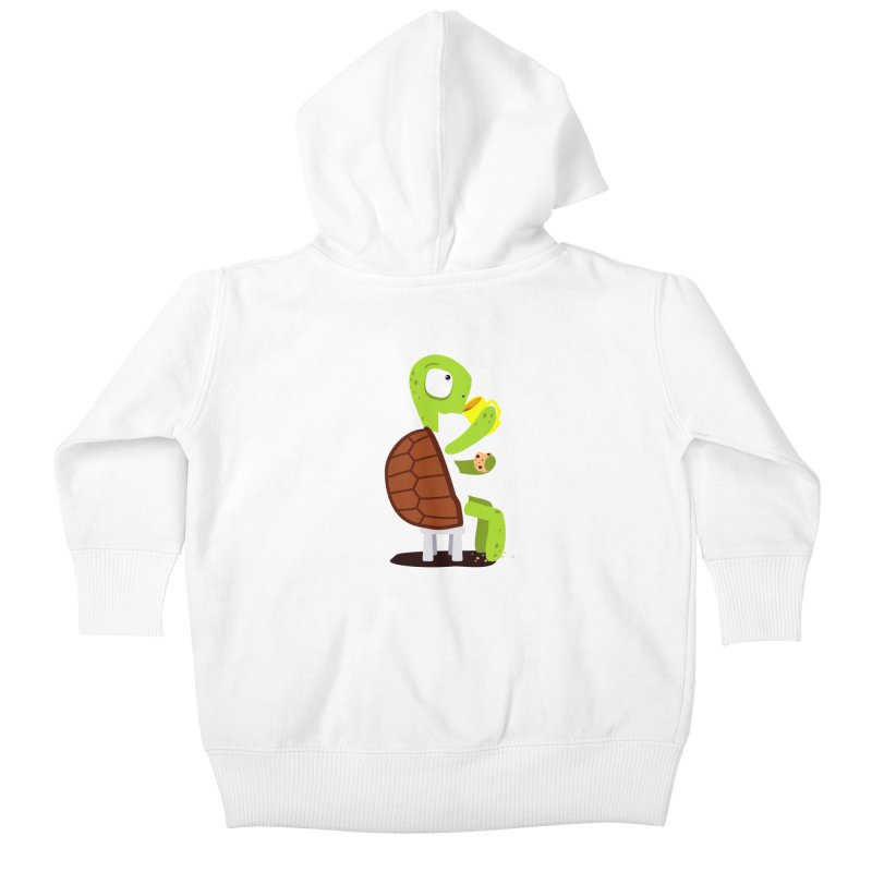 Turtle drinking tea with cookies. Kids Baby Zip-Up Hoody by shiningstar's Artist Shop