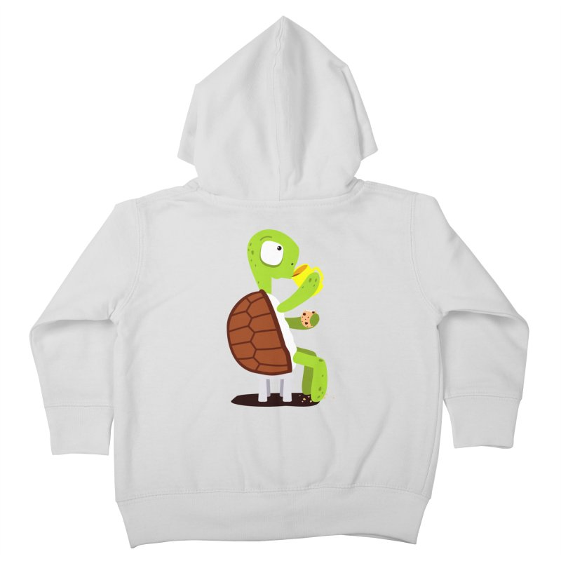 Turtle drinking tea with cookies. Kids Toddler Zip-Up Hoody by shiningstar's Artist Shop