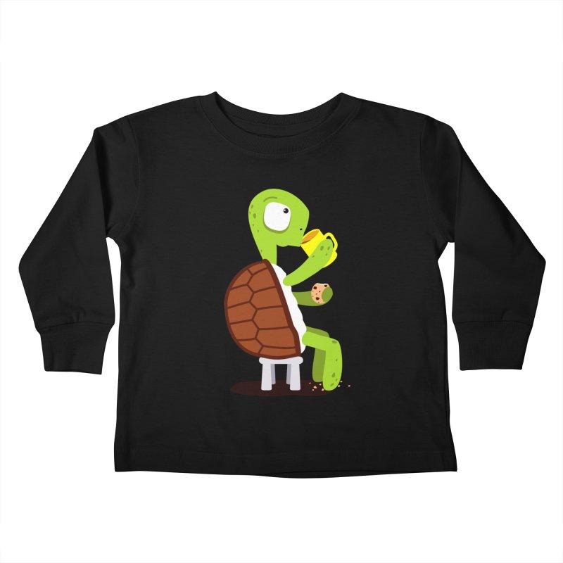 Turtle drinking tea with cookies. Kids Toddler Longsleeve T-Shirt by shiningstar's Artist Shop