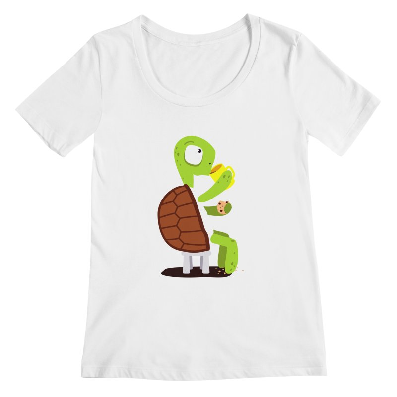 Turtle drinking tea with cookies. Women's Scoopneck by shiningstar's Artist Shop