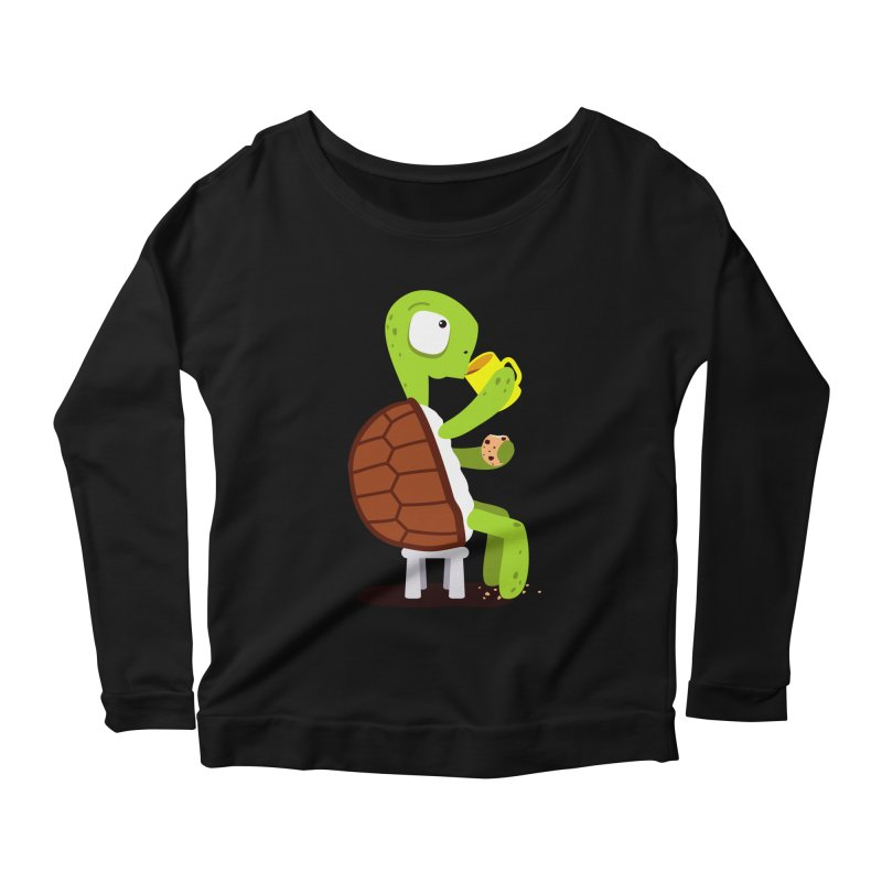 Turtle drinking tea with cookies. Women's Longsleeve Scoopneck  by shiningstar's Artist Shop